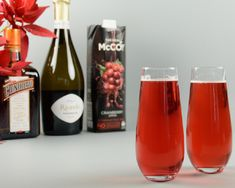 Festive Poinsettia Cocktail / Moore Wilson's - Moore Wilson's Wine Direct, Alcoholic Drinks, Cocktails, Cocktail Ingredients, Green Curry, Latest Recipe, Cranberry Juice, Prosecco, Cocktail