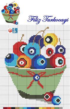 ( Turkish evil eye ) Designed by… Cross Stitch Geometric, Cross Stitch Art, Cross Stitch Borders, Modern Cross Stitch Patterns, Cross Stitch Designs, Cross Stitching, Cross Stitch Embroidery, Alpha Patterns, Loom Patterns