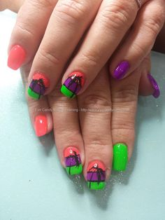 Neon gel polish with freehand palm trees