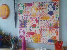 Take+a+Trip,+pop+art+painting    24+by+24+inches    Stencils+&+spray+paints+on+canvas    Made+with+several+hand+cut+stencils+blended+together+on+canvas+using+a+mix+of+bright+coloured+spray+paints,+then+finished+off+with+white+posca++paint+marker+for+more+added+detail.    Signed+dated+and+ready+to...