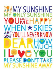 Kids Wall Art- You are my sunshine print/ kids wall decor/ nursery decor/ playroom decor/ playroom wall art Kids Wall Decor, Art Wall Kids, Wall Art, Playroom Decor, Nursery Decor, The Words, Teacher Signs, Quotes For Kids, Child Quotes