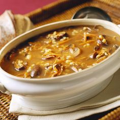 2 tablespoons olive oil 1 yellow onion, chopped 3 carrots, peeled and chopped 3 cups mushrooms, sliced 3 cans low-sodium vegetable broth 1 cup barley, cooked Salt and pepper to taste Free Keto Recipes, Low Calorie Recipes, Healthy Recipes, Healthy Comfort Food, Healthy Soup, Stew Meat Recipes, Cooking Recipes, Chicken Recipes, Mushroom Barley Soup