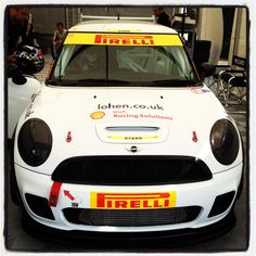The Lohen MINI Challenge JCW being prepped to head out on track at Snetterton.