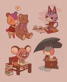 Animal Crossing Fan Art, Animal Crossing Characters, Animal Crossing Pocket Camp, Autumn Illustration, Cute Illustration, Anime Animals, Cute Animals, Cartoon Background, Kawaii