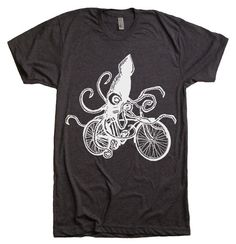 Men's Squid on a Bike T Shirt  American Apparel  XS S by lastearth, $20.00