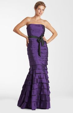 JS Collections Strapless Tiered Taffeta Trumpet Gown @Lyst