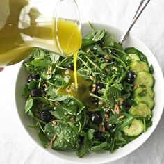 INGREDIENTS Garlic Hemp Oil Dressing 2 cups of salad greens* 1 sliced cucumber ½ cup blueberries 2 tablespoons hemp seeds 2 tablespoons sunflower seeds INSTRUCTIONS  Report this ad  Prepare the garlic hemp oil dressing. Toss together the greens, cucumber, blueberries, hemp seeds, and sunflower seeds. Drizzle on your dressing. Dig in! This salad can serve 2 as a side salad, or 1 serving as a meal!