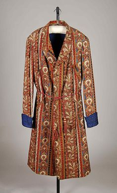 Met Museum dates this dressing gown to the 1870s (note narrow sleeves). Wool, cotton, silk (probably wool body with silk trim and cotton lining).
