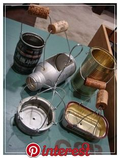 tin can handle idea Succulents In Containers, Succulents Diy, Planting Succulents, Reuse Containers, Planting Flowers, Succulent Gardening, Garden Planters, Container Gardening, Garden Terrarium
