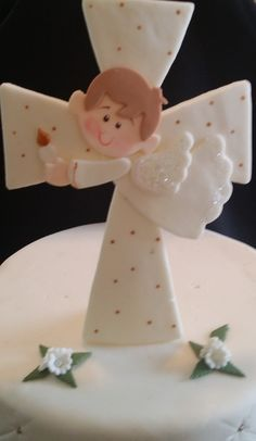 Angel Child On a White Cross Cake Topper, Baptism Cross Cake Toppers, Girls Baptism, First Communion Girl, First Communion Decorations, Baptism Favor, Baptism Cake Decorations, Communion Boy Cake - Cake Toppers Boutique  - 4
