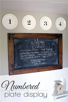 Create a simple numbered plate display and hang them with this inexpensive DIY trick! LoveGrowsWild.com