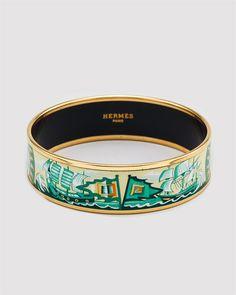 """Hermes """"Sailboats"""" Printed Enamel Wide Bracelet.."""