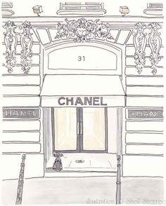 Paris Illustration - Chanel Boutique Cambon - giclee print. $25.00, via Etsy.
