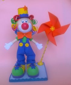 clown doll foam doll cake topper party decor by PatuskaCreations
