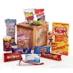 """This 9""""x9""""x9"""" crate comes completely packed with fuel for the hungry man.  Sweet snacks, savory snacks, candies, cookies, popcorn, nuts, potato chips- everything a man needs to stock his Man Cave."""