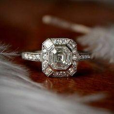 Asscher Cut Diamond I Color Clarity Diamond GIA - Platinum Diamond and Baguette Halo Ring Deco Engagement Ring, Halo Diamond Engagement Ring, Vintage Engagement Rings, Asscher Cut Diamond, Diamond Cuts, Art Deco Ring, Baguette, Round Diamonds, Clarity