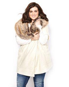 Melissa mccarthy short sleeve faux fur coat