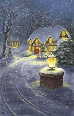 Snowy Winter Christmas Road Home by DBK-Art Licensing - Weihnachten Christmas Scenes, Christmas Art, Winter Christmas, Winter Snow, Illustration Noel, Christmas Illustration, Vintage Christmas Images, Christmas Pictures, Christmas Candles