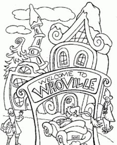 detailed christmas coloring pages coloring page of the grinch entering whoville grinch party le