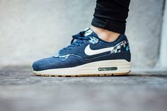 On foot look at the Nike Air Max 1 Print Midnight Navy. Available now.  http://ift.tt/1ErDfXN