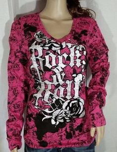 Rock & Roll Cowgirl Abstract Embellished Pink Long Sleeve Tee - L, XL, 2X