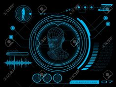 Illustration of Futuristic virtual graphic user interface HUD vector art, clipart and stock vectors. Technology World, Futuristic Technology, Futuristic Design, Technology Design, Technology Gadgets, Tech Gadgets, Technology Wallpaper, Technology Background, Game Interface