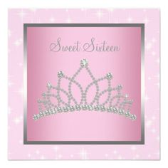 Silver Pink Sparkles Sweet Sixteen Birthday Party Announcement