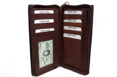 LeatherBoss Checkbook Holder Wallet with All Around Zipper and Pull Out Checkbook - Brown -- You can find more details at