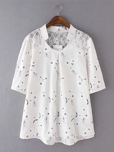 Elegant Lace Stitching Printed White Shirts can cover your body well, make you more sexy, Newchic offer cheap plus size fashion tops for women. Plus Size Romper, Printed Sweatshirts, Printed Shirts, Loose Shirts, Casual Sweaters, White Shirts, Fashion Outfits, Womens Fashion, Blouses For Women