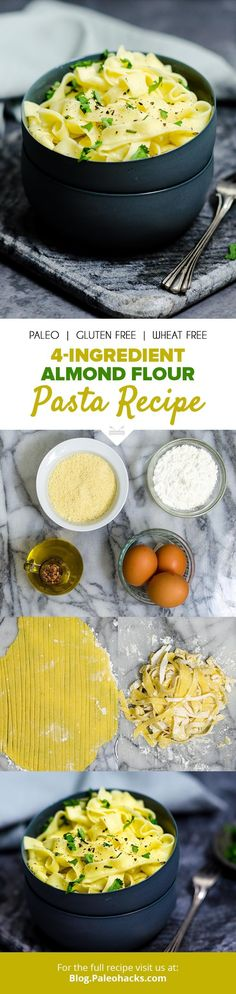 Recreate your favorite Italian dishes with this easy, gluten-free almond flour pasta dough made with just four ingredients! Get the full recipe here: http://paleo.co/AFpasta