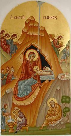 Nativity Byzantine Icons, Byzantine Art, Renaissance Image, Greek Icons, Roman Church, Birth Of Jesus Christ, Religion Catolica, Angels Among Us, Kids Poster