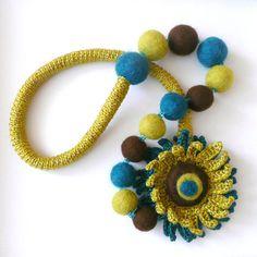 crochet & felt necklace