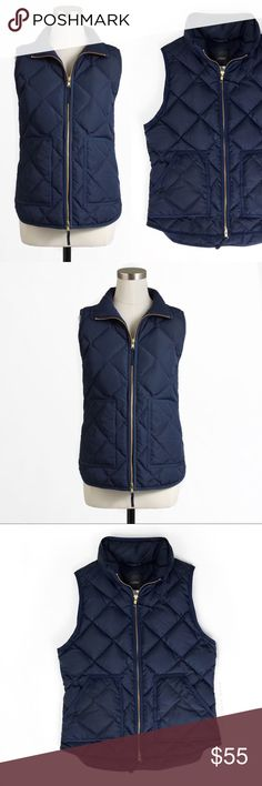 J. C r e w • E x c u r s i o n • V e s t • Sz XS J.crew Navy Excursion quilted vest Sz XS   🍍 Excellent pre-owned condition  📸 Watermark photos are of the actual time you will receive   Our latest light-as-air puffer vest is completely compact and easy to layer yet warm enough to keep winter's chill at bay. We glamorized the sporty shape with a slimmer silhouette and gold hardware for a dose of downtown cool. * Down-filled poly. * Hits at hip. * Standing collar. * Zip closure. * Patch…
