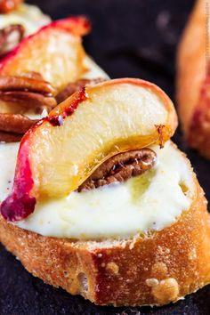 Roasted Peaches and Orange Whipped Greek yogurt crostini | The ...