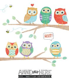 Owls in a Tree - Cute Digital Clipart Illustrations on Etsy, $5.00