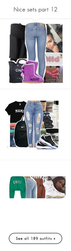 """Nice sets part 12"" by danny-baby ❤ liked on Polyvore featuring Chanel, Nudie Jeans Co., UGG Australia, Byredo, Too Faced Cosmetics, MAC Cosmetics, NYX, Organix, NIKE and school"
