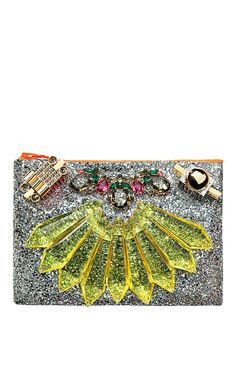 Mawi Mirrored Tubes, Teadrop Crystals and Perxpex Spikes Single Glitter Clutch at Moda Operandi