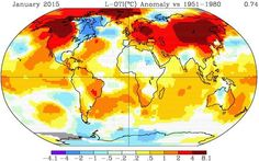 The warming is about a 20 times faster pace than at the end of the last ice age.  http://garryrogers.com/2015/02/17/january-2015-comes-in-as-second-hottest/