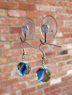 Vintage marble earrings blue 80s cats-eye glass dangle drop  on Etsy, £5.00