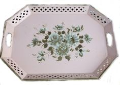 Vintage Shabby Pink Tole Tray