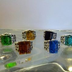 Glass rings in a variety of colors available  Instagram Photo Feed on the Web - Gramfeed | splurgesboutique (Splurges Boutique)