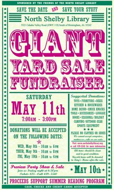 Yard Sale Fundraiser Saturday, May 11, 2013!!! Call 205.439.5540 for info