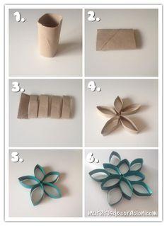 Adornos de Navidad con rollos de papel higiénico.