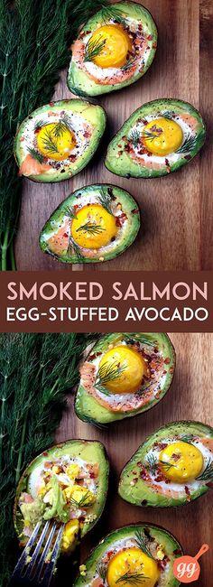 Smoked Salmon Egg Stuffed Avocados