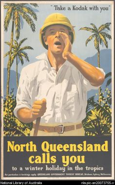 North Queensland calls you, poster by Percy Trompf. The scenic beauty of the rainforest, and its associations with tropical lushness, featured prominently in North Queensland tourist promotion Vintage Advertising Posters, Vintage Travel Posters, Vintage Advertisements, Vintage Ads, 1950s Advertising, Brisbane, Melbourne, Sydney, Posters Australia