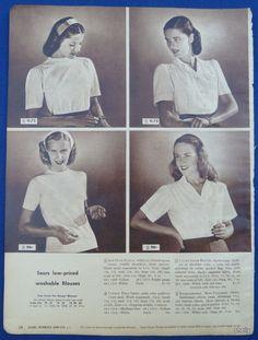 Womens Clothing Original Vintage 1940s Sears ADS Spring Summer Blouses Dickies in | eBay