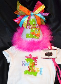 1st Birthday Party Hat Super Cutie Pie Sweet Shope and Matching bodysuit or shirt on Etsy, $52.90