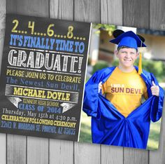 Class of 2014 Chalkboard Invitation Graduation Announcement High School Graduation Announcement Photo Graduation Announcment