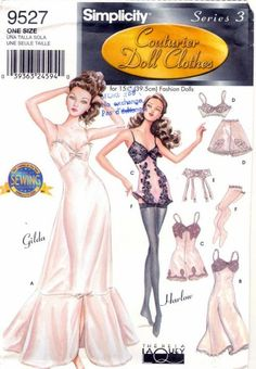 GENE DOLL SEXY Lingerie Couturier sewing pattern Simplicity 9527 pdf e pattern. 5.00, via Etsy.