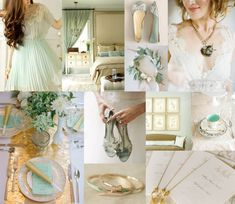 Change the mint for Sage and this would be perfect!: Mint Gold Wedding Colors